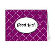 Modern Lattice 'Good Luck' Plum - 24 Cards for $7.49 - Blank Cards w/ Grey Envelopes Included