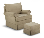 Thomasville Kids Grand Royale Upholstered Swivel Glider and Ottoman, Chocolate