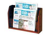 Wooden Mallet 2-Pocket Countertop Newspaper Display, Mahogany
