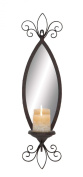 Plutus Brands Mirror Candle Sconce with Secure Loop and Swirl Accents