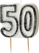 8.9cm Black Sparkle 50th Birthday Glitter Cake Decoration Moulded Candle