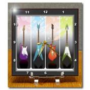 3dRose dc_40766_1 Framed 4-Heavy Metal N Rock Guitars Desk Clock, 15cm by 15cm