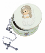 Precious Moments Communion Girl Covered Box with Rosary