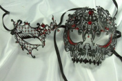 Lover's Collection - His & Her's Matching Metal Filigree Laser Cut Masquerade Mask