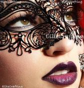 Luxurious Venetian Black Masquerade Mask - Intricate Laser Cut Design Made of Light Metal with Diamonds