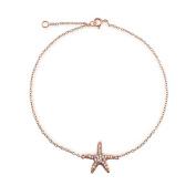 Bling Jewellery Pave CZ Rose Gold Plating Sterling Silver Happy Starfish Anklet Bracelet 22cm