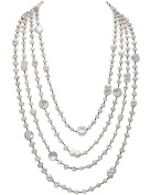 "HinsonGayle ""Celeste"" Handwoven 4-Strand Ultra-Iridescent White Cultured Freshwater Pearl Necklace"