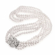 Bling Jewellery Vintage Multi Strand Freshwater Pearl Flower CZ Bridal Necklace