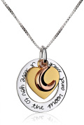 "Tri-Colour Sterling Silver with Yellow and Rose Gold Flashed ""I Love You To The Moon and Back"" Heart Pendant Necklace, 46cm"