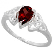 Sterling Silver Celtic Knot Trinity Ring with Natural Garnet 0.8cm wide, sizes 6 - 10