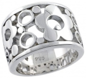 """Sterling Silver Flawless Quality Flower Ring w/ Bubbles, 1/2"""" (13mm) wide"""