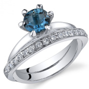 London Blue Topaz Band Ring Sterling Silver Rhodium Nickel Finish .00 Carats Sizes 5 to 9