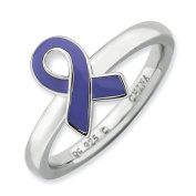 Sterling Silver Stackable Expressions Purple Enamelled Awareness Ribbon Ring