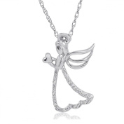 Sterling Silver Diamond Angel with Heart Pendant-Necklace