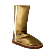 Women's Snazzy Metallic Gold Faux Shearling Boots - Size 6