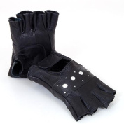 Fingerless Work Out Gloves Durable Leather Mens Womens Unisex For Driving, Bike Black Size 2XL