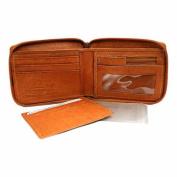 Luxury Divas Tan Leather Men's Zipper Wallet Photo Coin & Credit Card Slot