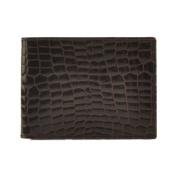 Budd Leather US 27C-2 Croco Bidente Slim Wallet W/Outside Cr Card Brown