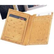 Budd Leather US 95B-3 Mens Genuine Ostrich Credit Card Case Tan