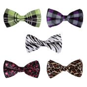 BMC 5 pc Mens Mixed Colour Assorted Pattern Pre-Tied Adjustable Neck Tie Bowties