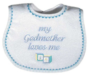Raindrops 6691B Raindrops -My Godmother Loves Me- Embroidered Bib, Blue