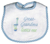 Raindrops 6737B Raindrops -Great-Grandma Loves Me- Embroidered Bib, Blue