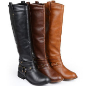 Brinely Co. Womens Mid-calf Wide Calf Riding Boots