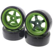 HPI 1/10 Sprint 2 Sport F & R T-DRIFT tyres & 5-SPOKE WORK MEISTER S1 GREEN WHEELS