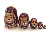 LION MINI nesting dolls Russian Hand Carved Hand Painted 5 piece matryoshka Set