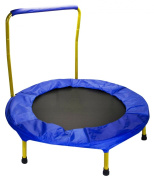 Portable & Foldable Trampoline - 90cm dia. Durable Construction Safe for Kids with Padded Frame Cover and Handle