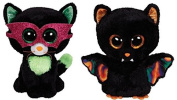 Ty Jinxy the Cat & Scarem the Bat Halloween Beanie Boos Set of 2 Plush Toys