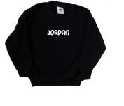 Jordan text Black Kids Sweatshirt