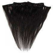 Beauty7 46cm - 60cm Jet Black (Col 1) Full Head Clip in Human Hair Extensions High quality Remy Hair 120g Weight