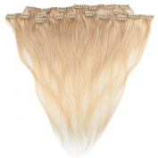Beauty7 46cm - 60cm Light Blonde (Col 16) Full Head Clip in Human Hair Extensions High quality Remy Hair 120g Weight