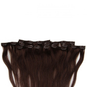Beauty7 46cm - 60cm Dark Brown (Col 2) Full Head Clip in Human Hair Extensions High quality Remy Hair 120g Weight