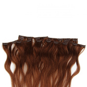 Beauty7 46cm - 60cm Chestnut Brown (Col 6) Full Head Clip in Human Hair Extensions High quality Remy Hair 120g Weight