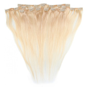 Beauty7 46cm - 60cm Natural Blonde (Col 24) Full Head Clip in Human Hair Extensions High quality Remy Hair 120g Weight