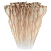 Beauty7 46cm - 60cm Ash Blonde/Bleach Blonde (Col 18/613) Full Head Clip in Human Hair Extensions High quality Remy Hair 120g Weight