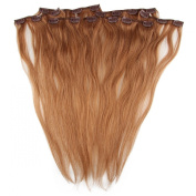 Beauty7 46cm - 60cm Light Ash Brown (Col 10) Full Head Clip in Human Hair Extensions High quality Remy Hair 120g Weight