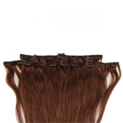 Beauty7 46cm - 60cm Chocolate Brown (Col 4) Full Head Clip in Human Hair Extensions High quality Remy Hair 120g Weight