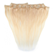 Beauty7 46cm - 60cm Light Ash Blonde (Col 22) Full Head Clip in Human Hair Extensions High quality Remy Hair 120g Weight