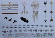 Selene - Beautiful Gold and Silver metallic temporary tattoo