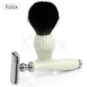 DOUBLE EDGE SAFETY RAZOR AND BADGER HAIR SHAVING BRUSH GIFT SET