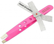 Jewel of London Stainless Steel Professional Precision Straight Tip Lightweight Cut-out Tweezers (9.5 cm Pink Lacquer Finish) Certified High Quality Construction.