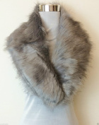 New GREY Gorgeous Fluffy Faux Fur Collar Stole Wrap Neck Warmer Scarf