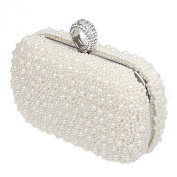 Ivory Pearl Beaded Hardcase Wedding Clutch Bag With Ring Fastener - Bridal Evening Party Handbag Purse Prom Bags