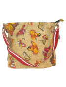 Women's Beige Cross Body Bag - Butterfly Tote Beach & Shopper Shoulder Canvas Travel Girls Bags