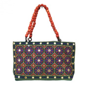 Sequins Floral Zari Embroidered Semi Silk Fashion Hand Bag from India