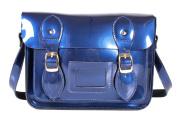 SR0074 28cm Blue Metallic Magnetic Snap Satchel - Patent Blue Leather Small Fashion Bag