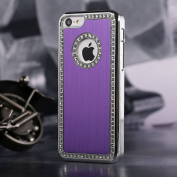 Style Iphone 4/4S Deluxe Purple brushed aluminium diamond case bling cover for iphone 4/4S